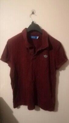 Mens Red Adidas Polo Shirt Size Medium