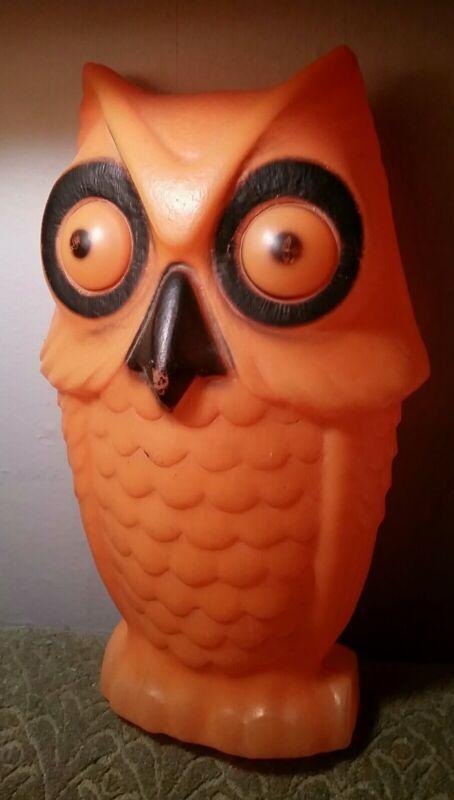 "RARE Vintage Halloween Orange 13"" OWL Blow Mold Light Up Tico"