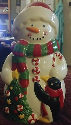 Vintage Snowman Ceramic Cookie Jar with Penguin Christmas Tree and Scarf