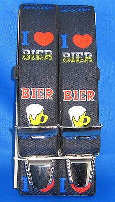Hosenträger I ♥ Bier in 3 längen 120 - 140 cm eigene Herstellung