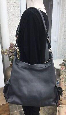Large Dark Grey Leather Kesslord Shoulder Hobo Tote Bag