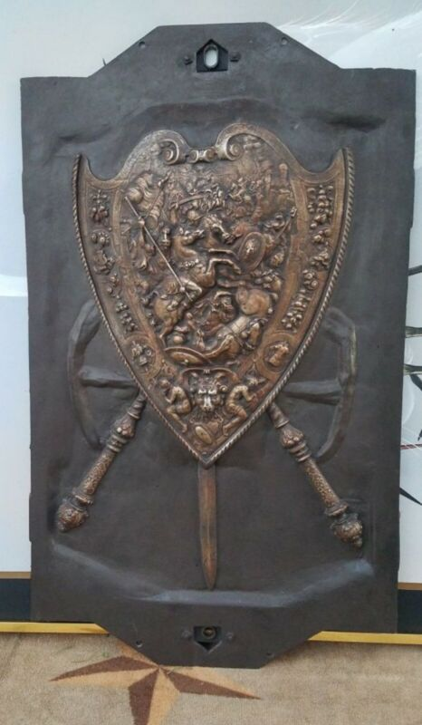 HEAVY CAST IRON MEDIEVAL CREST COAT OF ARMS WALL PLAQUE FRAME