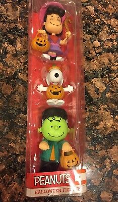 Schulz Peanuts Lucy,Snoopy,Charlie Brown Halloween Figures Cake Toppers New!! (Peanuts Halloween Figures)