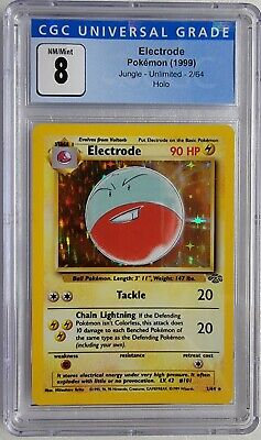 1999 POKEMON ELECTRODE HOLO JUNGLE UNLIMITED 2/64 CGC 8 PSA + 1 BOOSTER PACK