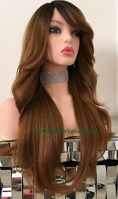Auburn Wig  Ombré Dark Roots Wavy Layered Straight On The Back Heat Resistant 24](Auburn Mermaids)