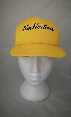 VTG Yellow Tim Hortons Logo adjustable trucker meshcap classic Baseball Hat Cap