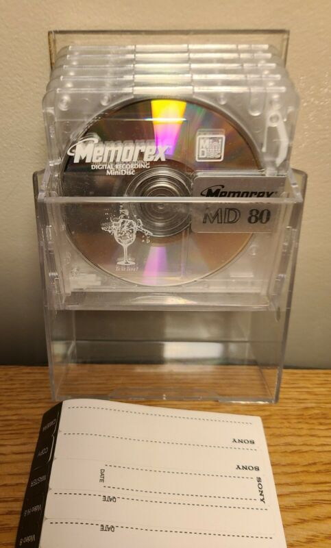 Lot of 5 Memorex MD 80 Mini Discs Flip Top Case Digital Recording MiniDiscs