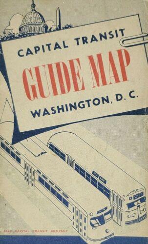 1948 Washington DC Capital Transit Guide Map Street Car & Bus Lines White House