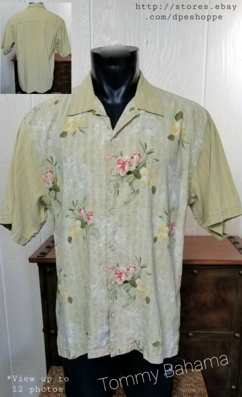 TOMMY BAHAMA HAWAIIAN SILK TEXTURED FLORAL PALE YELLOW BUTTON UP SHIRT SZ L NOTE