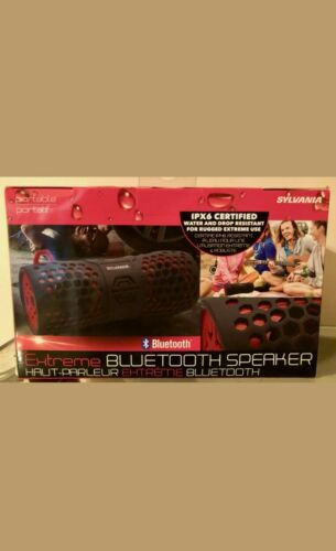 SYLVANIA Sp332 Red Water Resistant Portable Bluetooth Speake