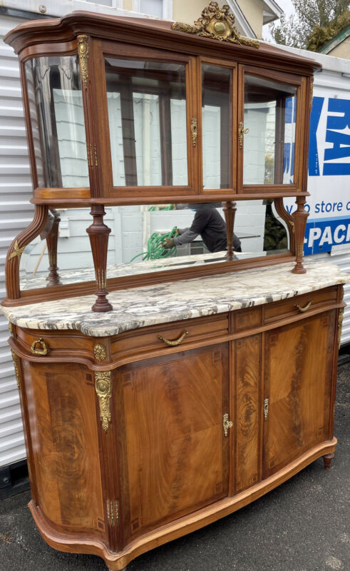 Louis XVI French Mahogany Serpentine Marble Top Bronze 2 Part Buffet Cabinet