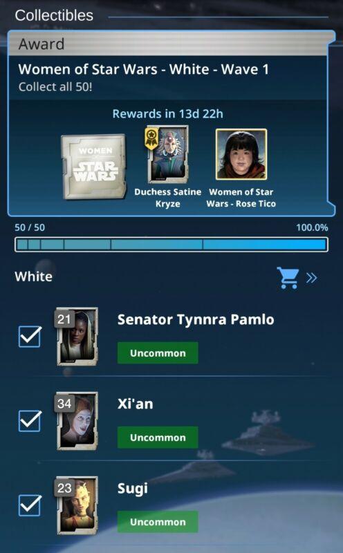 Topps Star Wars Card Trader Women of Star Wars 2021 White Set 50 Cards Digital
