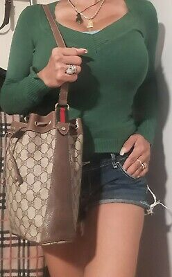 Vintage Gucci Bucket Bag red green stripe monogram tote purse