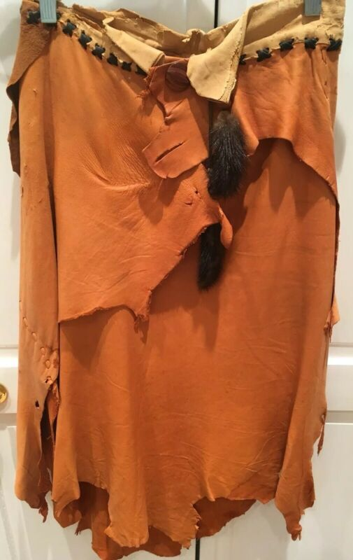VINTAGE NATIVE AMERICAN INDIAN Leather Skirt Hand Stitched, 6