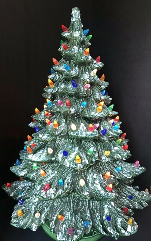 "Vtg Ceramic Christmas Tree 22"" Flocked Multi Colored Lights Base"