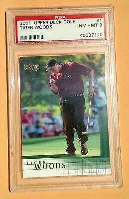 2001 Upper Deck Golf 1 Tiger Woods PSA 8 NM Mint RC Rookie