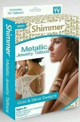 Shimmer Metallic Jewelry Tattoos gold & silver designs~FREE SHIPPING ~  (Shimmer Tattoos)