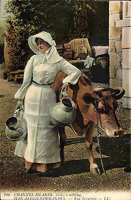 Channel Islands. Going a milking # 210 by LL / Levy. Coloured.