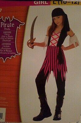 Girl Pirate Outfits (New Girl's Pirate Halloween Costume Sz L 10-12 Complete Outfit Pink)