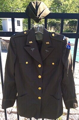 WWII US Army Nurse Corps Tropical Service Jacket With Hat, Size 14L