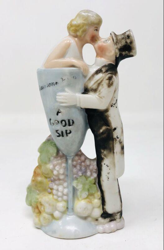 Vintage Schafer Vater German Porcelain Bottle Flask A Good Sip Wedding KP21