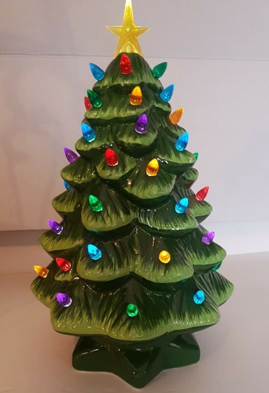 Mr Christmas~Delightful~Colorful Tree~ Green~Bright Lights~Battery~Excellent