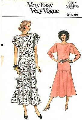 Very Easy Very Vogue Sewing Pattern Women's DRESS 9867 Sz 8-10-12 UNCUT - Very Easy Costumes