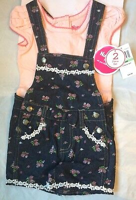 Nannette Kids Girls 2 Piece Overall Denim Short Set - 12, 18, 24 Month. NWT 2 Piece Overall Short