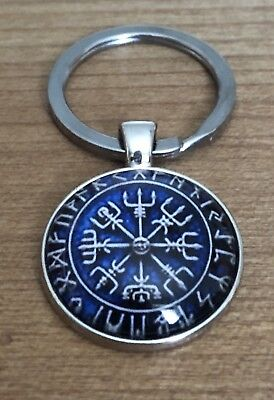 Schlüsselanhänger Vegvisir K2.10 Aegishjalmur Wikinger Kompass blau-weiß (10 K Anhänger)