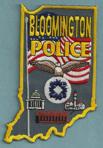 BLOOMINGTON INDIANA POLICE SHOULDER PATCH STATE SHAPED