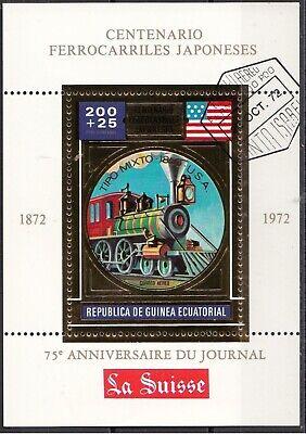 Guinea Equatoriale 1972 Treni locomotive a Vapore steam Ecuatoriale gold sheet
