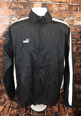 Vintage 1990s PUMA Windbreaker/Jacket - Black Adult Size  Large