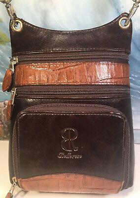 Bellerose Small Brown Crossbody Purse Faux Leather Multi Zipper Travel Pouch Bag