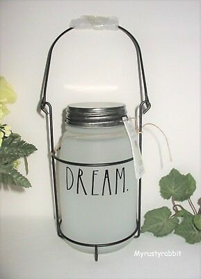 Rae Dunn DREAM Frosted Glass Mason Jar Hanging Lantern Home Decor