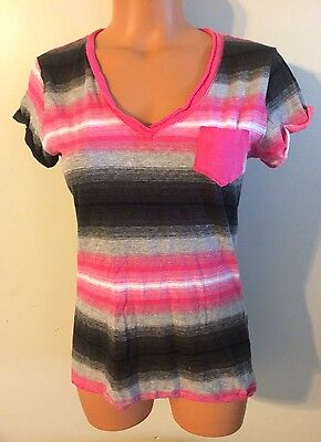 Womens Size Large Rue 21 Blouse Ss Cotton Blend Striped Pocket Shirt Nice