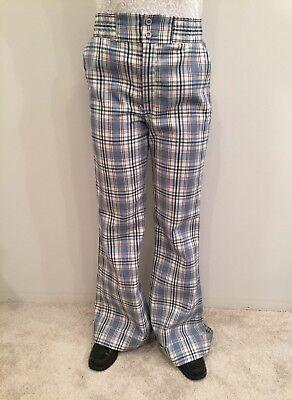Vintage H.I.S. Blue Plaid Bell Bottom Pants Wide Leg Bells Hip Huggers Size 8?