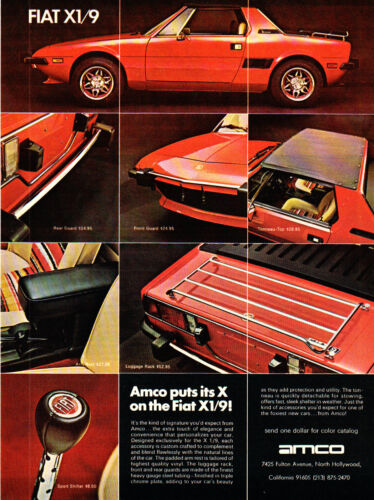 1974 Fiat X1/9 Mid-Engine Two-Seater Sports Car photo AMCO vintage print ad
