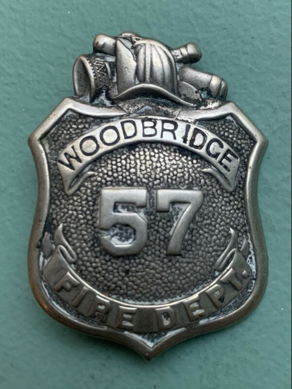Vintage WOODBRIDGE 57 Fire Department Badge New Jersey Free Shipping
