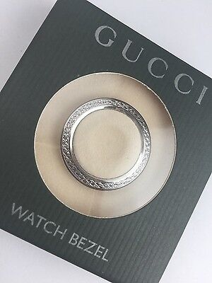 New Authentic GUCCI 1100L 1200L Silver Diamond Cut METAL WATCH Bezel