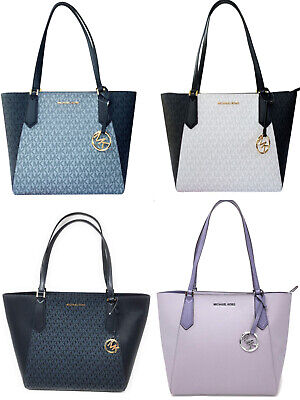Michael Kors Kimberly SMALL Bonded Top Zip Tote Admiral MK Pale Blue White Black Small Zip Top Tote