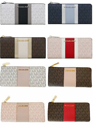Michael Kors Jet set Travel 3/4 Zip Continental Wallet Vanilla Brown Pink Blue