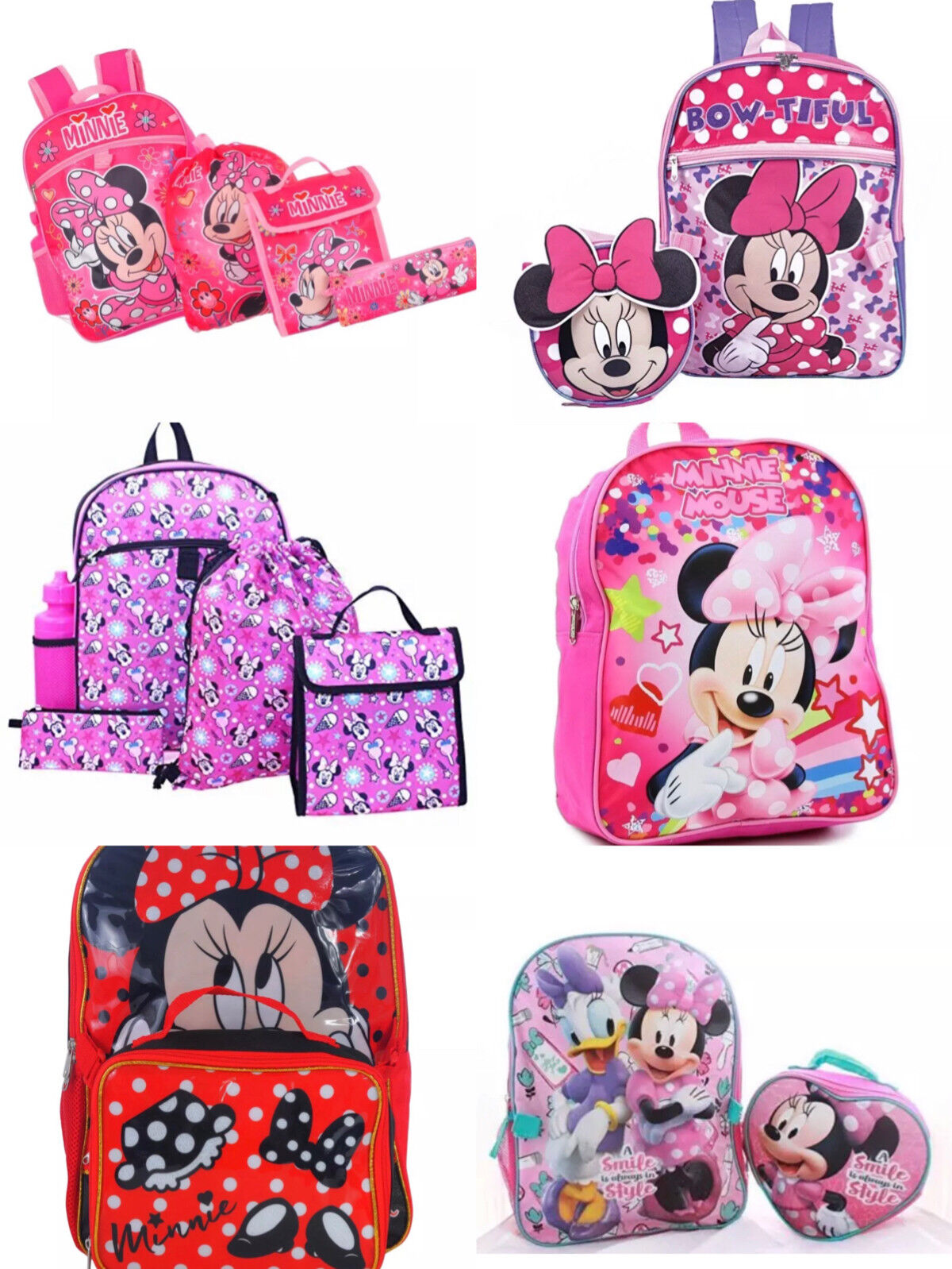 """Disney Minnie Mouse 10-16"""" School Backpack with Lunch Box Di"""
