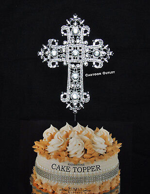 Cross Cake Topper Silver Religious Communion Baptism Wedding Christening Dedicat