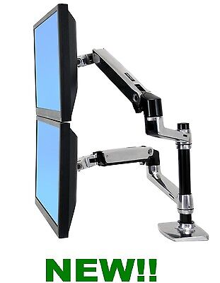 ERGOTRON LX DUAL DESK MOUNT ARM STACKING (VERTICAL / HORIZONTAL) 45-248-026 NEW!