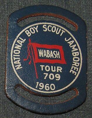1960 National Boy Scout Jamboree Wabash Council Leather Patch Neckerchief Slide