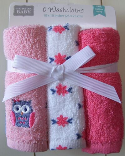 Girls Hudson Baby 6 Pack Owl Floral Solid 100% Cotton Terry Washcloths