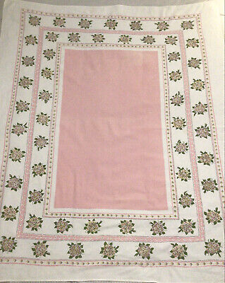 Vintage Tablecloth White and Pink Floral Border Rectangle Linen