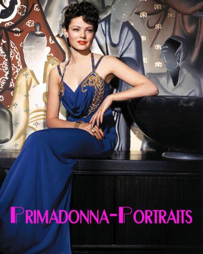 GENE TIERNEY 8x10 COLOR Lab Photo SEXY Elegant Gown Portrait Beautiful Babe