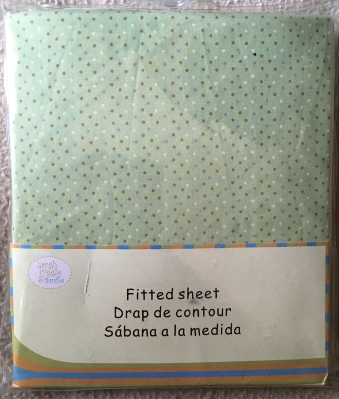 Fitted Crib Sheet 100% Cotton Unisex Green Polka Dot NEW Laugh Giggle & Smile