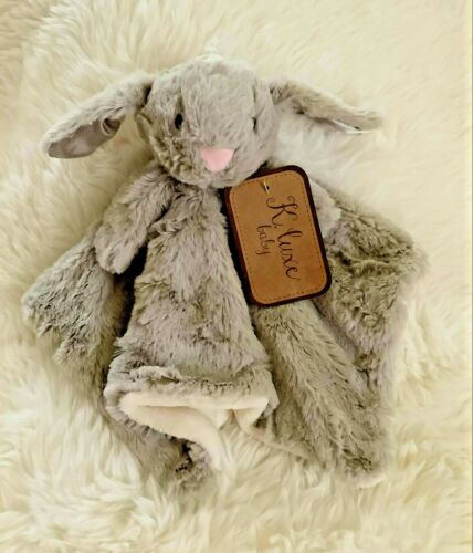 Kellytoy Baby Blanket Gray Bunny w/rattle by K. Luxe Baby for Newborn+ VERY SOFT